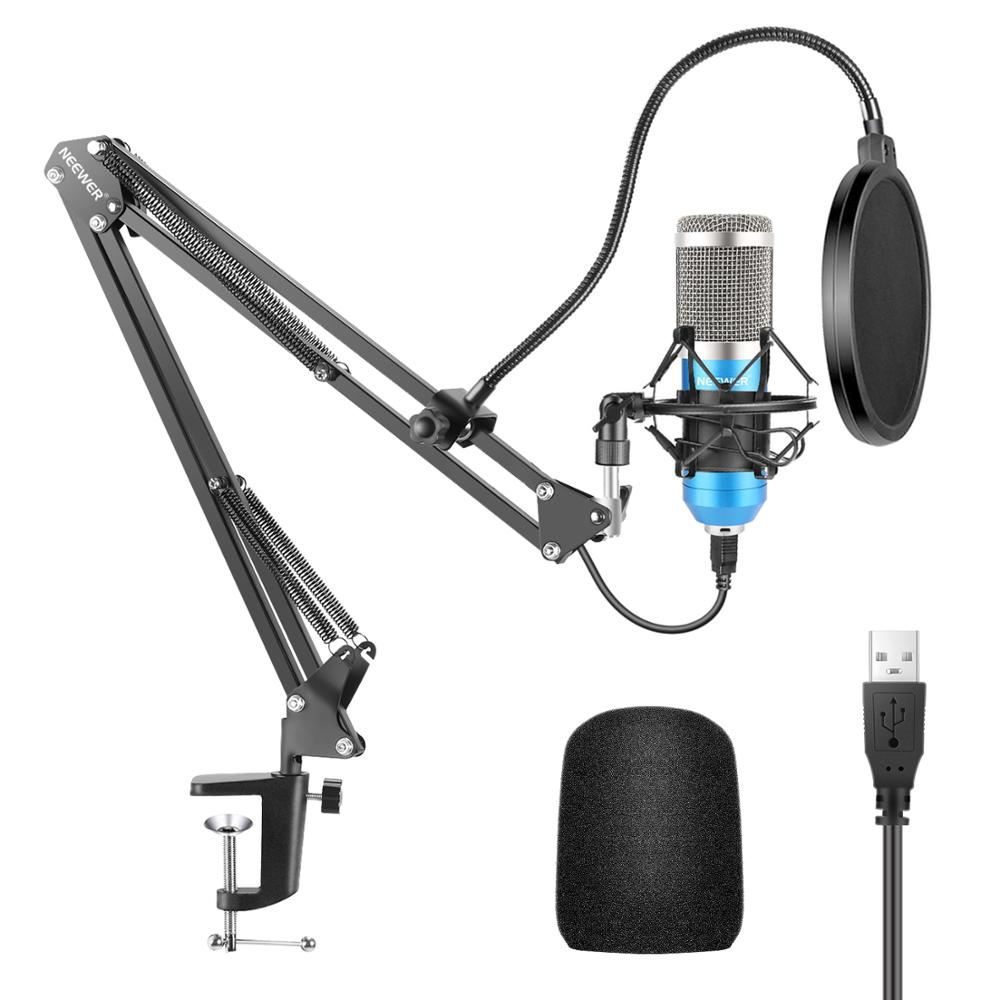 Neewer USB Microphone Kit 192KHZ/24BIT Plug&Play Computer Cardioid Mic Podcast Condenser Microphone With Professional Sound Chip