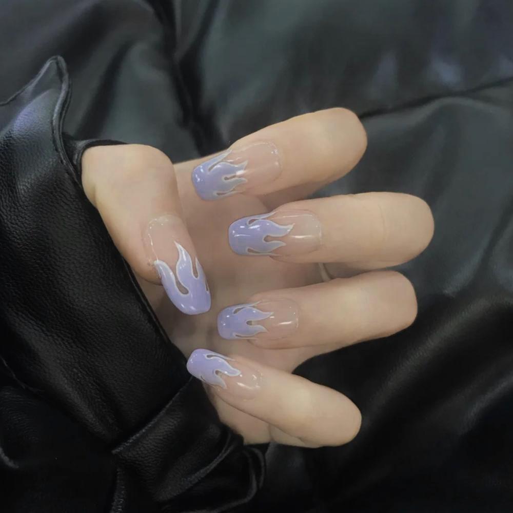 2020-New-European-Square-Flame-Fake-Nails-Design-Blue-Purple-Fire-Pattern-Full-Cover-False-Nails (10)