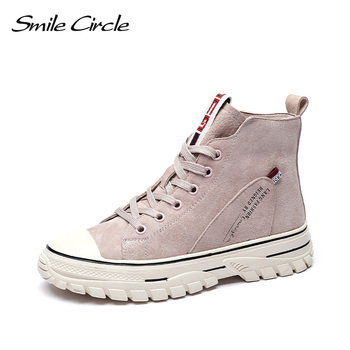 Smile Circle Women High-top Sneakers Flat Platform shoes Genuine Leather Lace-up Casual boots Ladies Autumn 2019