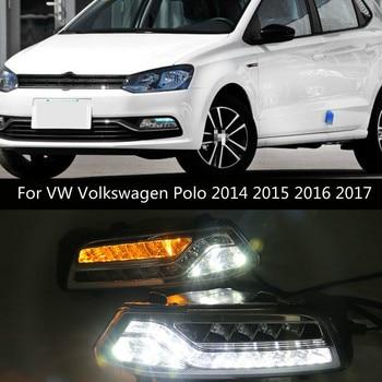 2Pcs DRL For Volkswagen VW Polo 2014 2015 2016 2017 Passat B7 Daytime Running Lights Fog head Lamp cover Daylight