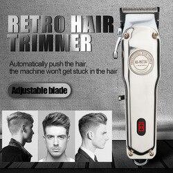 Máquina de cortar cabelo recarregável sem fio elétrico aparador de cabelo profissional barbeador barba máquina de barbear todos os metais