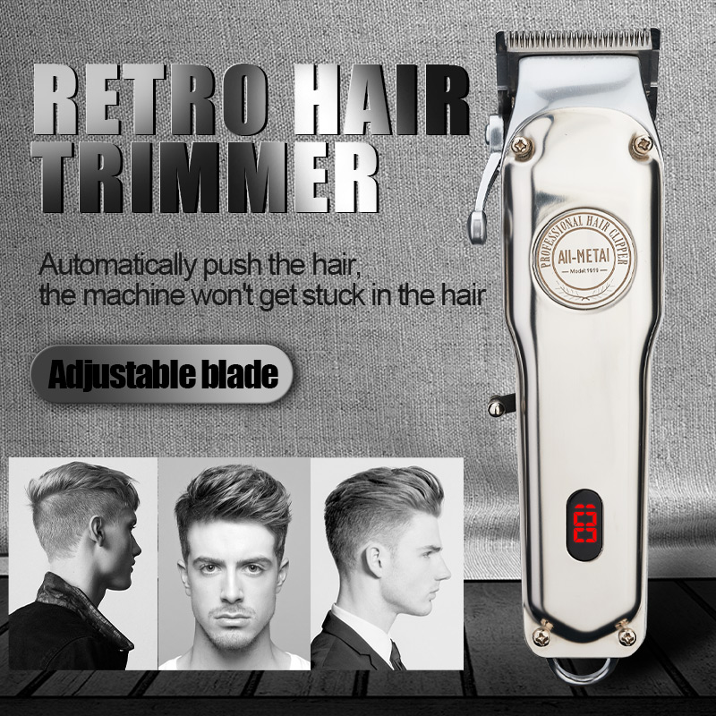 Rechargeable Hair Clipper Cordless Electric Hair Trimmer Professional Haircut Shaver Beard Shaver Machine All Metal|Hair Trimmers| |  - title=