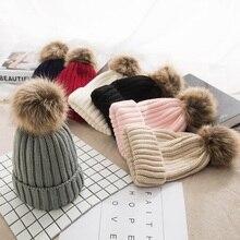 Зимние женские шапки с помпоном, теплые вязаные с помпоном для девочек, меховые шапки с помпоном из натурального меха енота, Повседневная Шапка Кепка с помпоном