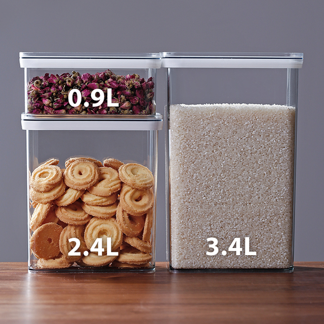 900ml 2 4l 3 4l Clear Food Storage Containers Large Capacity Airtight Kitchen Canisters Dry Food Storage Jars Pantry Organizer Bottles Jars Boxes Aliexpress