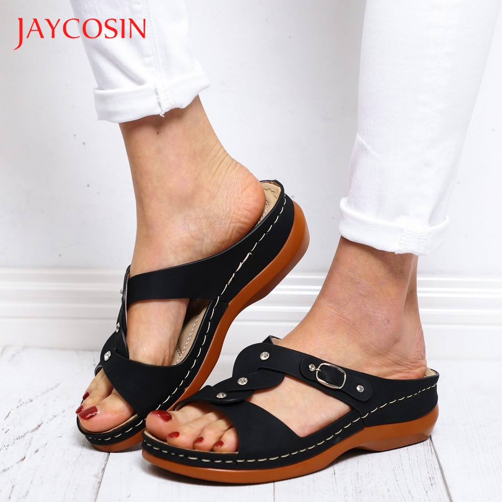 JAYCOSIN Shoes Woman Sandals Summer Shoes Buckle Strap Wedges Beach Open Toe Breathable slippers women Beach Shoes flat slides 1