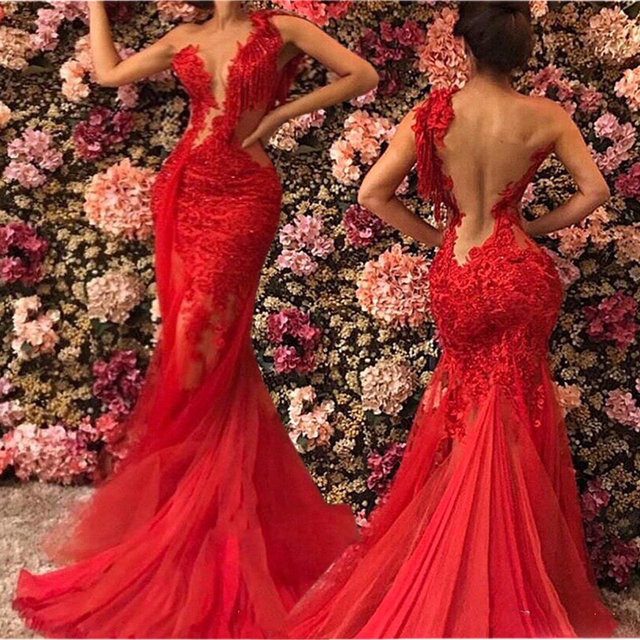 2021 Red Sheer See Through Backless Mermaid Prom Dresses Plus Size Lace Tulle One Shoulder Evening Gowns Sexy robe de soiree 1
