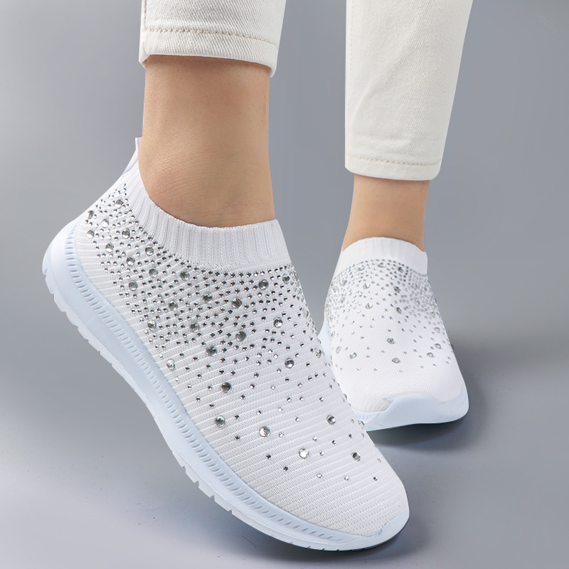 Fashion Women Sock Sneakers Bling Vulcanized Shoes Female Casual Ladies Slip On Loafers Shoes Female Trainers Tenis Feminino