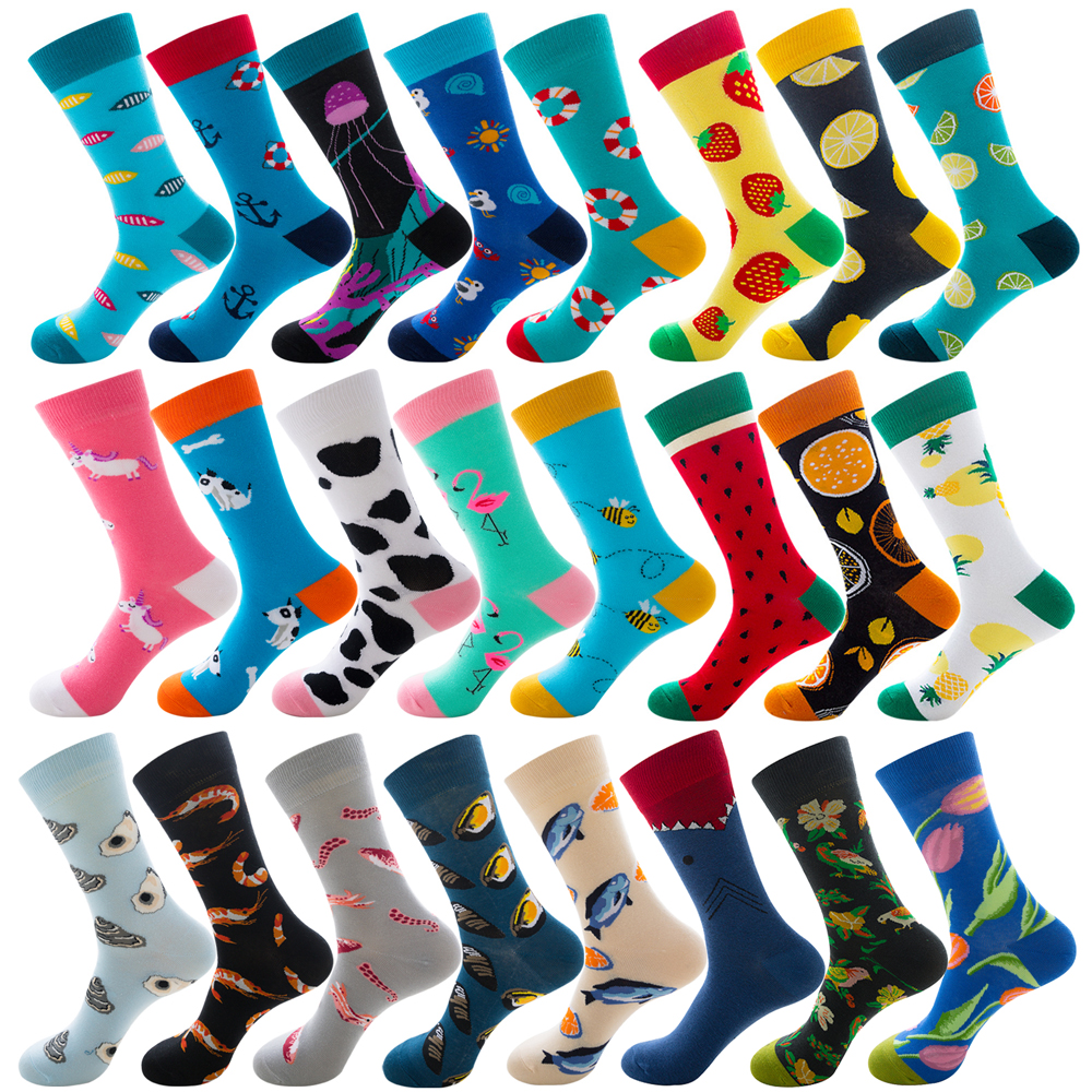 New Happy Mens Socks Women  Sloths Novelty Sock Combed Cotton Funny Men's Big Size Crew Harajuku Hip Hop Winter Thick Long Socks