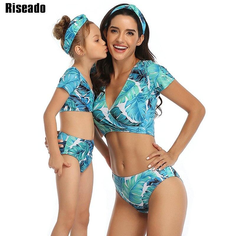 Riseado-Bikini brasileño de realce para mujer, traje de baño de manga corta con cuello de pico, cintura alta, estampado, para playa, 2021