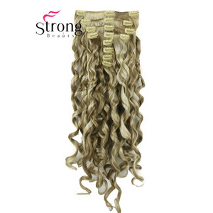"""Image 5 - StrongBeauty 20"""" Wavy Full Head Synthetic Heat Resistance Hair Extensions Clip on in Hairpieces 8pcs 260g"""