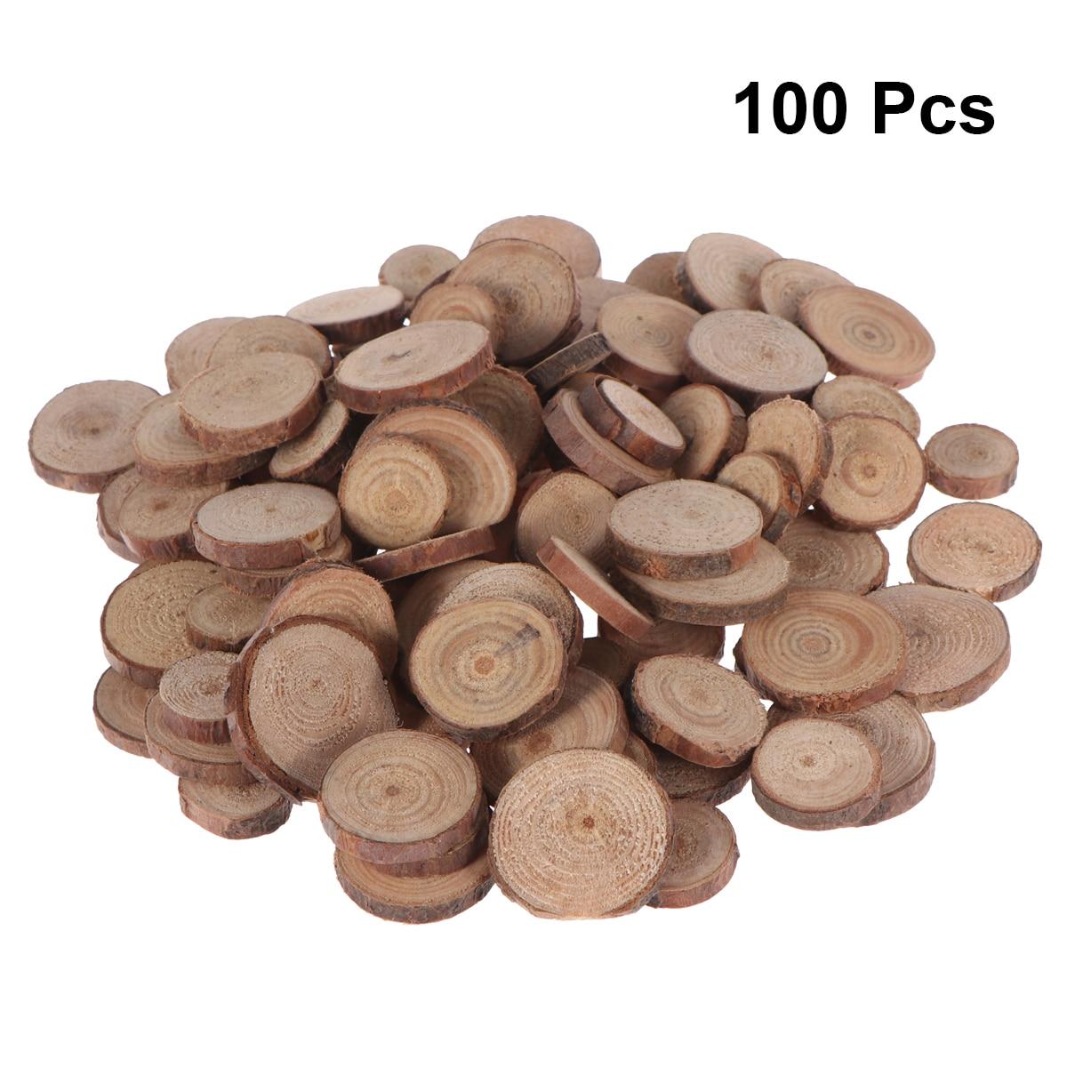 100 Uds. Discos de madera de 1,5-3CM para manualidades DIY centros de mesa de boda Pino Natural redondo sin terminar ronda de madera accesorios de fotografía