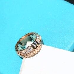 Popularna marka czysta 925 Sterling Silver biżuteria Wedding Party wokół diamentowe pierścionki zaręczynowe kochanka Roma numer zegar pierścionki w kolorze różowego złota