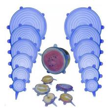 6 sztuk wielokrotnego użytku do pakowania żywności pokrywa krzemu żywności świeżo utrzymać zaślepka uszczelniająca próżni Stretch pokrywka silikonowa kuchnia pokrywa silikonowa tanie tanio Silikonowe Purple orange powder yellow blue white green LFGB Lids W8H0200005aBC Silica gel Eco-Friendly Stocked Cookware Parts
