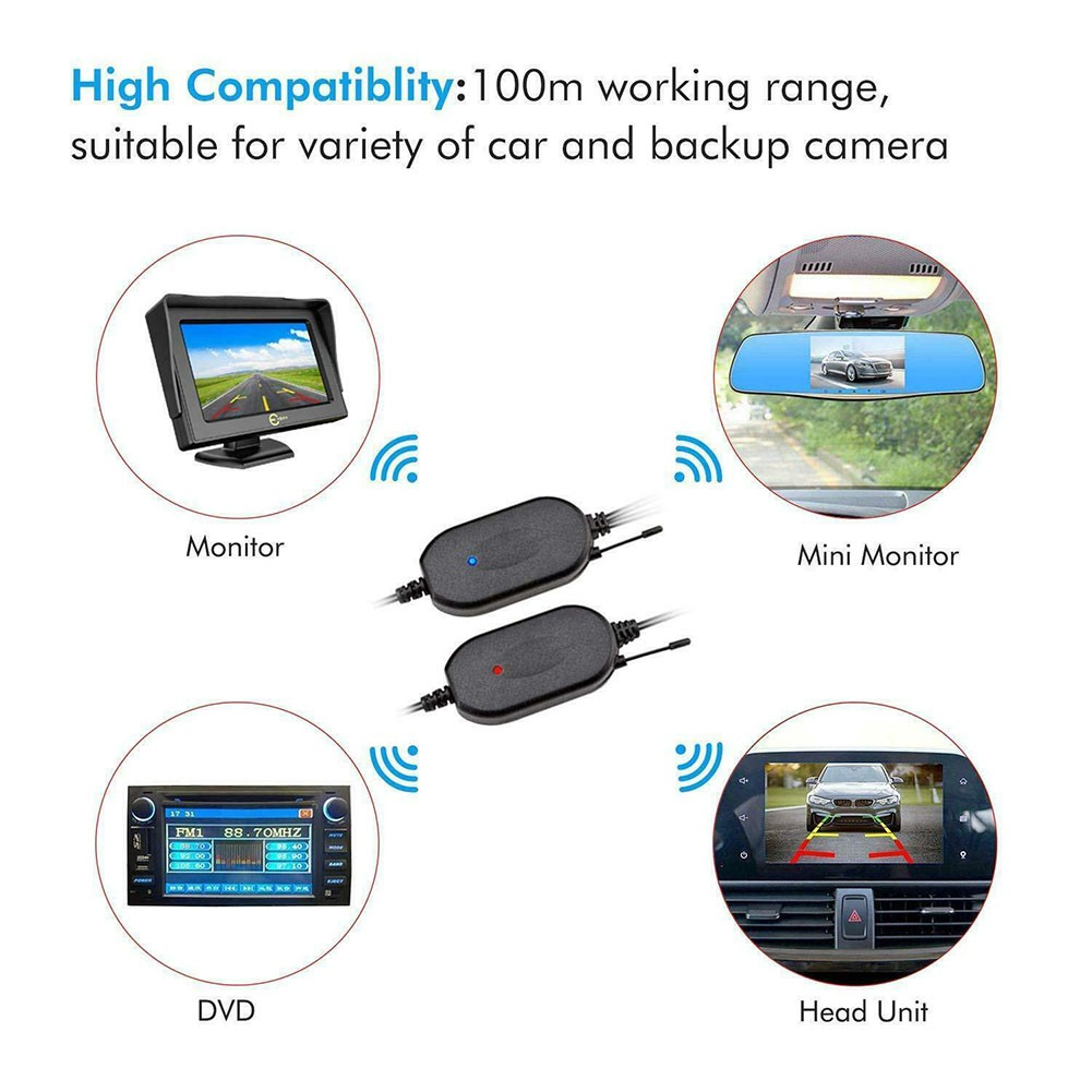 12V Wireless Rear View Video Transmitter & Receiver 7*1.5*100cm For Car Truck Reversing Camera Reverse Camera Accessory