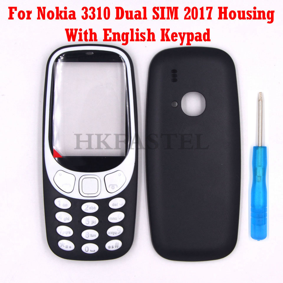 HKFASTEL For Nokia 3310 2017 Dual SIM Card New High Quality Mobile Phone Housing Cover Case With Keypad Keyboard