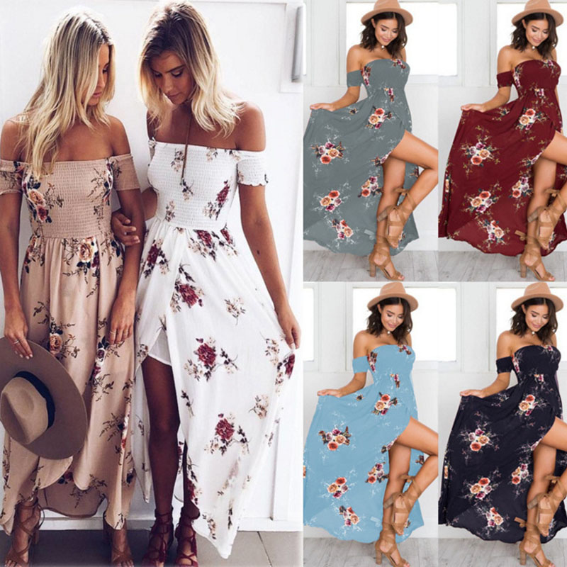 Bonjean Casual Polka <font><b>Long</b></font> Party <font><b>Dresses</b></font> Women <font><b>Sexy</b></font> Split Maxi Strapless <font><b>Elegant</b></font> Beach Summer <font><b>Dress</b></font> Boho Vestidos image