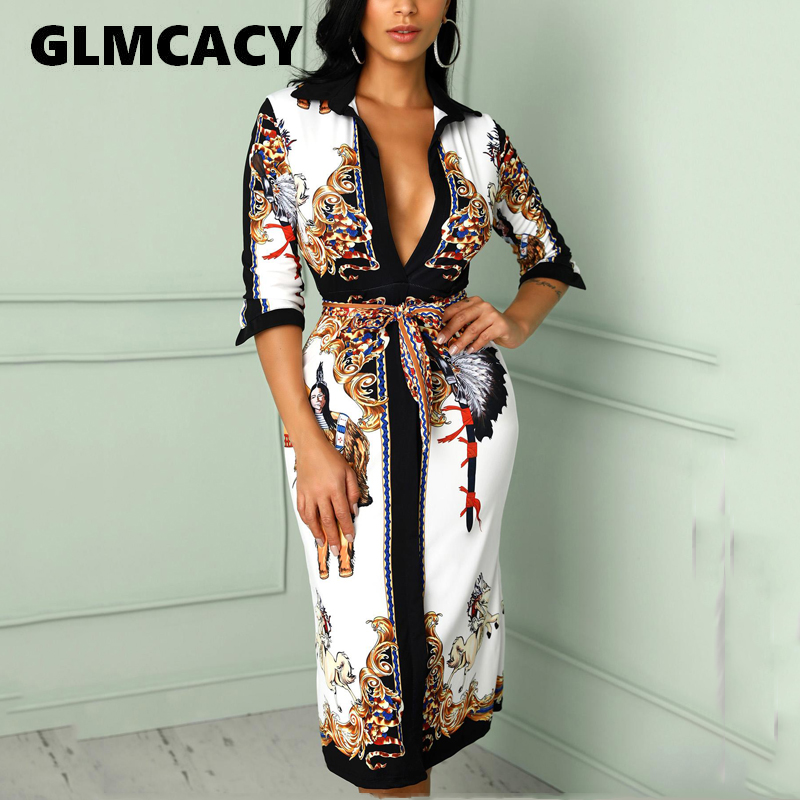 Women V Neck Scarf Print Belted Wrap Casual Dress 2020 Spring Half Sleeve Party Midii Dress Vacation Ladies Dresses|Dresses| - AliExpress