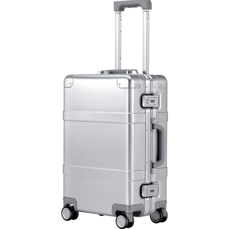90FUN Intelligent Metal Suitcase Aluminum Alloy Luggage Carry On Spinner Wheel TSA Unlock Silver 20 Inch For Men Women