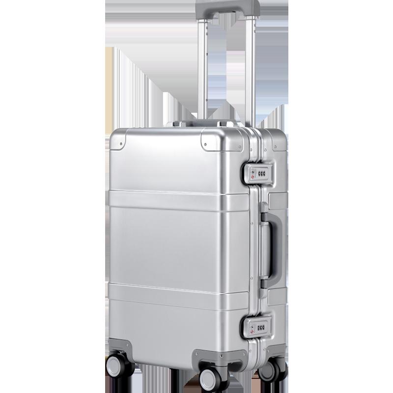 90FUN Intelligente Valigia di Metallo In Lega di Alluminio Bagagli Carry on Spinner ruota TSA Sbloccare Argento 20 Pollici per le donne degli uomini