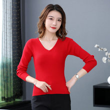 Woman Slim Fit Sweater Wool Blend Plain Knitted Tops Womens Pure Colour Soft Basic Knitwear V-nek Ripple Bottoming Pullovers New nek brescia