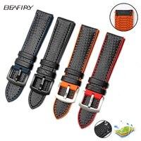BEAFIRY 20mm 22mm 24mm Orange Stitching Carbon Fiber+silicone Black Genuine Leather red blue orange Watch Band Strap sport