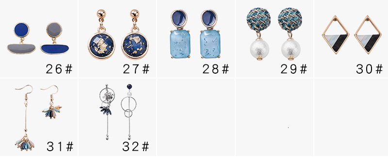 Hb5f1fbe525034f1982384e52df8a30b9w - Summer Blue Geometric Acrylic Irregular Hollow Circle Round Square Drop Earrings for Women Metal Bump Party Beach Jewelry