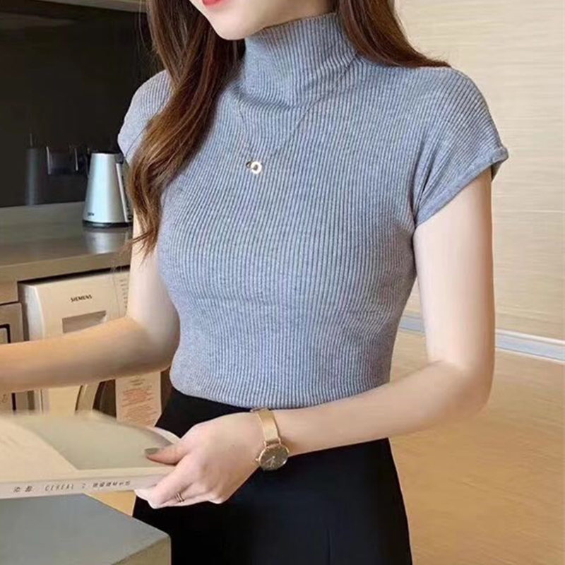 HELIAR Women Summer Knitted T-shirts Plain O-Neck Solid Tops Women Short Sleeve High Street Solid T-shirts Casual Tees For Women 3