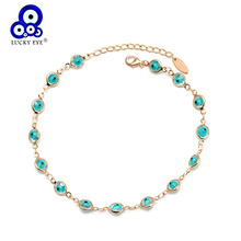 Lucky Eye Turkish Evil Anklet Gold Color Copper Beach Foot Chain Leg Ankle Bracelet Adjustable for Women Girls Jewelry BD198