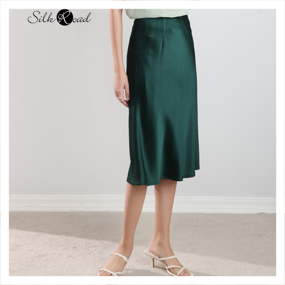 Silviye Classic Solid Color Acetate Satin Skirt Medium Length Wrap Hip Skirt High Waist A-line Skirt New In Spring 2020