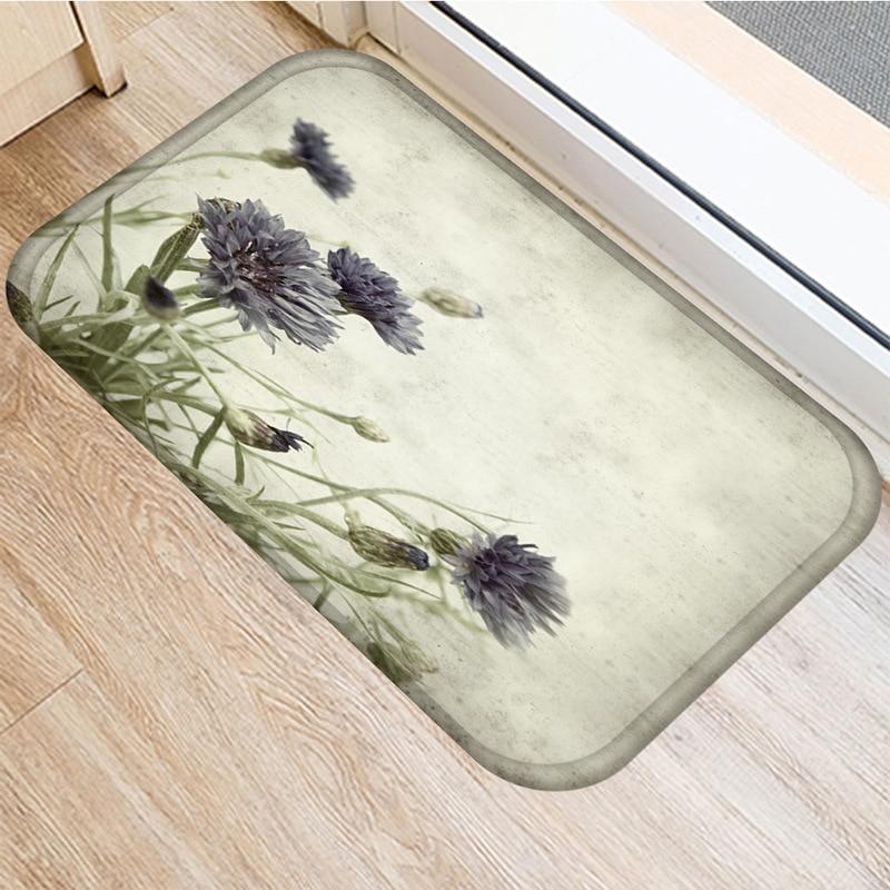 Image 5 - Leaf Flower Pattern Non slip Bedroom Decoration Soft Carpet  Kitchen Floor Living Room Floor Mat Bathroom Non slip Mat 40x60cm   .Rug