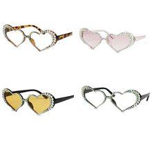 Vintage Heart Shape Frame Sunglasses Women Fashion Luxury Rhinestone Decoration Cat Eyes Sun Eyeglasses
