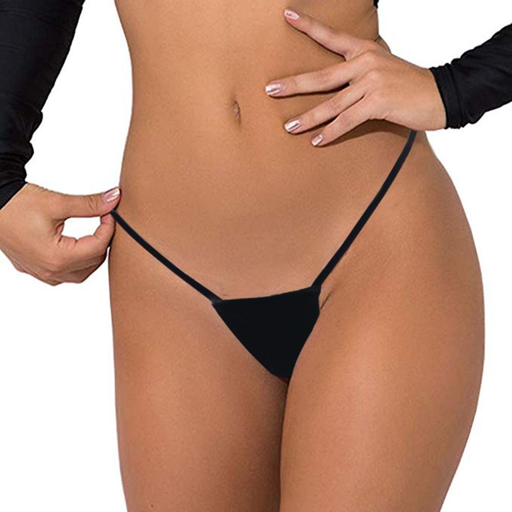 Women Cheeky Black T-back Bikini Bottoms Micro Thongs Super Sexy Secret Swimwear Biquini Bikinis Brazilian Bikini Sheer Bottom
