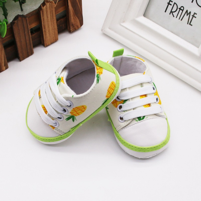 Spring Autumn Baby First Walkers Anti-Slip Soft Sole Cartoon Fruit Print Lace-Up Sneaker 0-18M