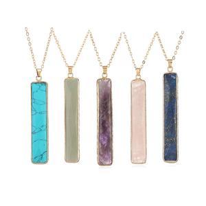 Long Bar Stone Necklace Gold C