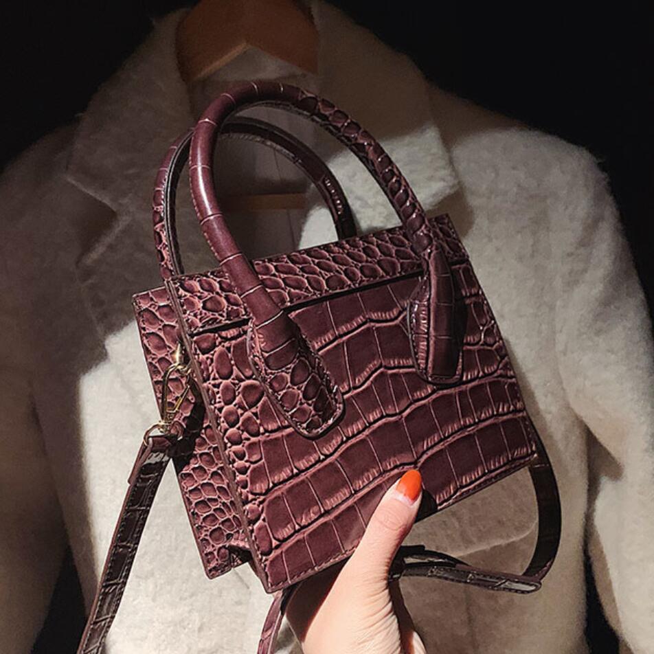 Mini bolso de mano negro con patrón de cocodrilo para mujer, bolso de mano de diseñador de piel sintética, bandolera de hombro informal, 2021