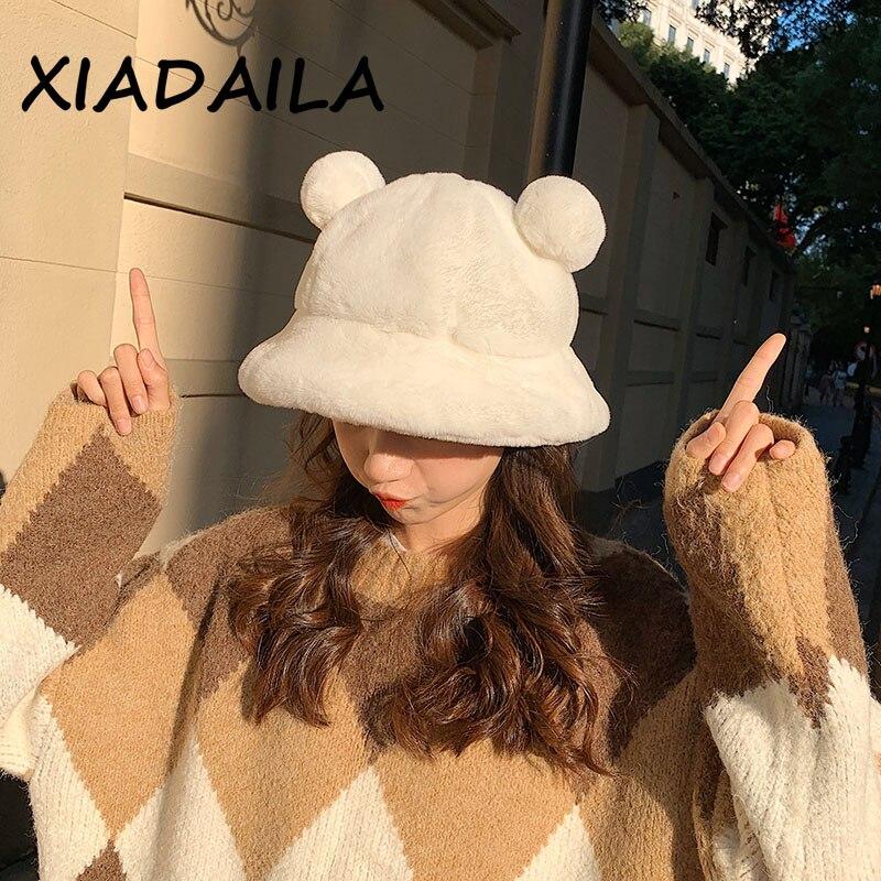 Fashion Autumn Winter Leopard Fur Bucket Hat Bear Ear Ball Plush Fisherman Hat Soft Warm Thick Basin Hat Protection Bucket Hats
