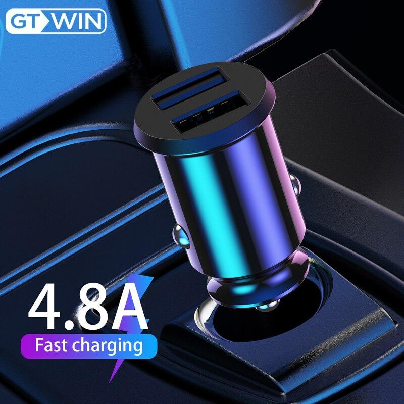 GTWIN USB Автомобильное зарядное устройство Быстрая зарядка 4.8A адаптер для мобильного телефона двойной USB Быстрая зарядка для iPhone Samsung Xiaomi Huawei а...