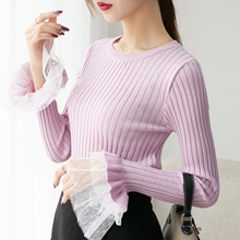 Korean Knitted Women Sweater Lace Flare Sleeve Sweaters and Pullovers Plus Size XL Knit Oversized
