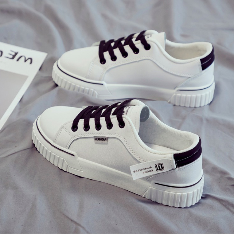 Women Sneakers White Fashion PU Women Casual Shoes 2020 Spring Flats Vulcanized Shoes Women Shoes Breathable Low Top