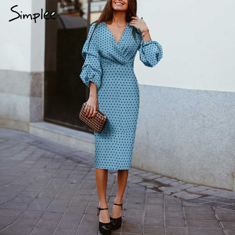 Simplee Sexy v-neck women dress Elegant polka dot lantern sleeve female evening party dress Autumn slim lady vintage midi dress