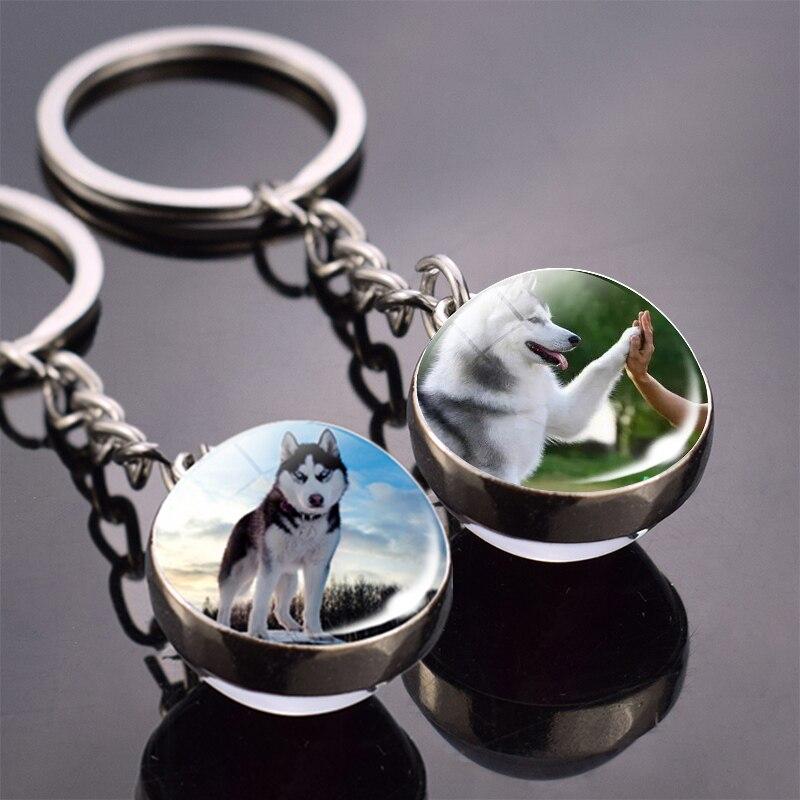 Animals Key Chains Siberian Husky Double Side Glass Ball Keychain Dog Keyring Animals Jewelry