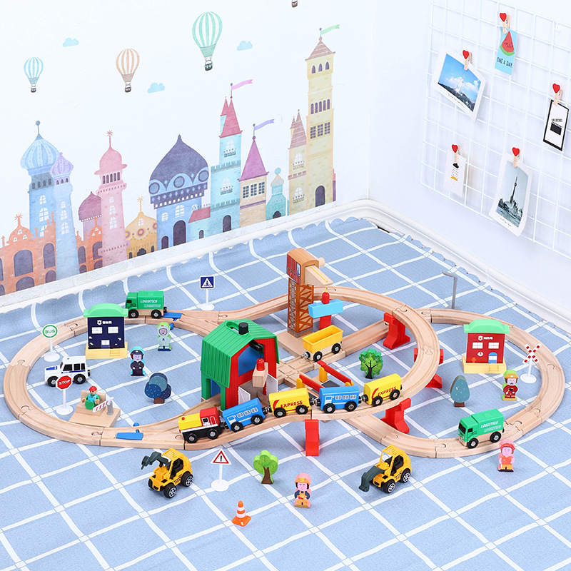Wooden Train Track Set Wooden Railway In Puzzle With And friends Tracks Rail Transit Brio Electric Toy Trains For Kids Gifts