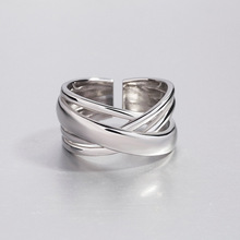 925 Sterling Silver Multi-layer Winding Irregular Noodles Ring Trendy Personality Opening Adjustable Ladies Accessories