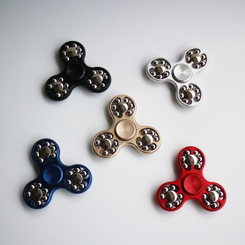 5 Color Alloy Eighteen Steel Ball Fidget Hand Spinner Finger Spinner Toy Focus Tri Spinner Fingertip Gyro EDC Reduce Stress Gift