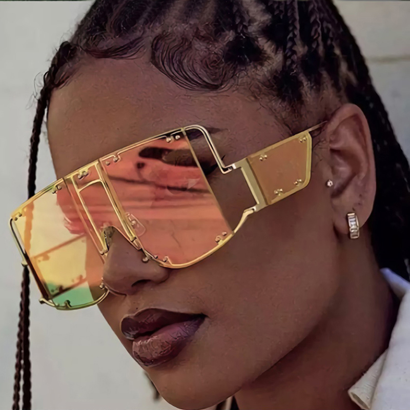 OEC CPO New Fashion Sunglasses Women Brand Oversized Metal Rivet Men Sunglasses Unique Trend Glasses Female Unisex UV400 O269