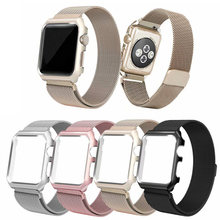 цены milanese loop watch strap+case for Apple watch 4 band 40mm correa apple watch 44mm bracelet for iwatch band 42/38mm series 3 2 1