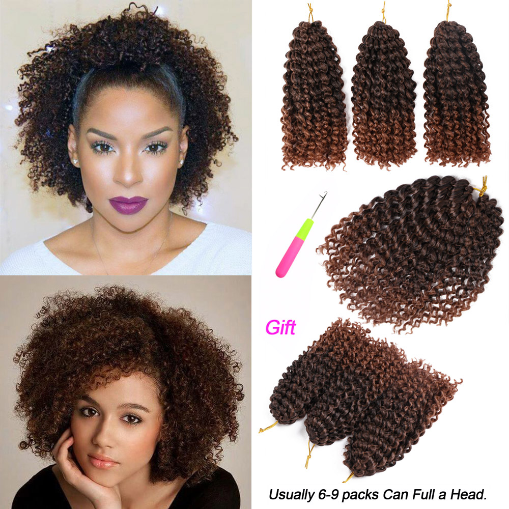 MODERN QUEEN Ombre Hair Extensions Synthetic Marlybob Jerry Curl Jamaican Bounce Crochet Hair Afro Kinky Curly Crochet Braids