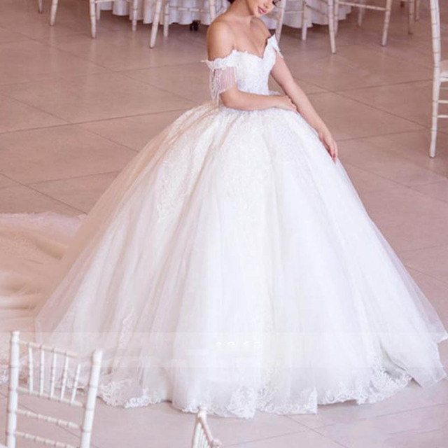 Luxury Beaded Lace Wedding Dresses Gorgeous Off Shoulder Tulle Bridal Wedding Gowns Sweetheart Princess Bridal Dress 2020 2