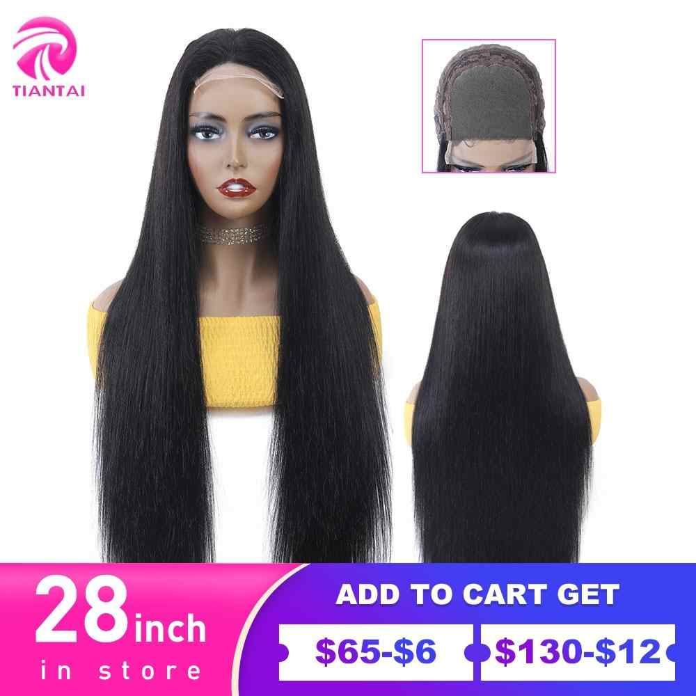 Suzhou 28 Inch Penutupan Wig 4X4 Renda Penutupan Wig Rambut Manusia Renda Wig Wig Lurus Panjang untuk Wanita brasil Remy 150 Kepadatan