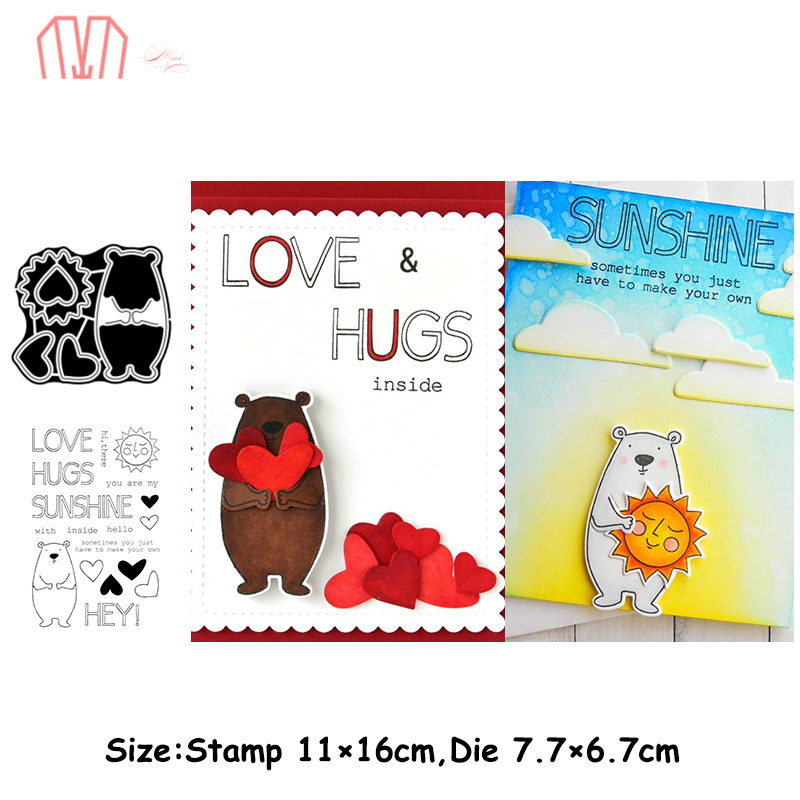 Mai Lovely Bear Metal Cutting Dies Stencils Cear Stamp For DIY Scrapbooking Photo Album Decorative Embossing Paper Cards
